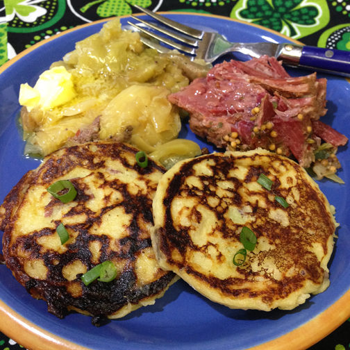 Mashed Potato Pancakes Corned Beef Cabbage Webs